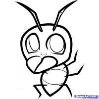 веселого муравья ребенку карандашом