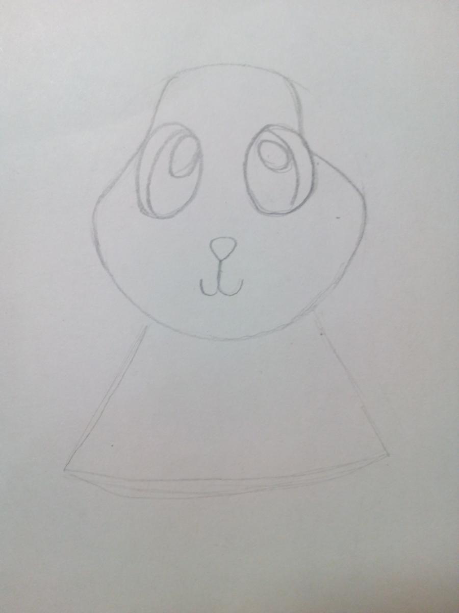 Рисуем зайчонка ребенку карандашами - шаг 3