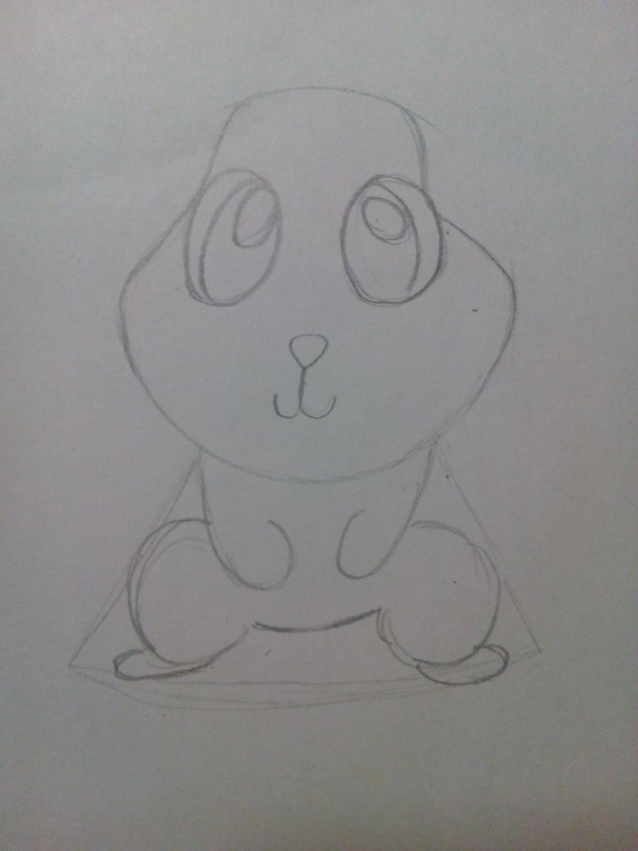 Рисуем зайчонка ребенку карандашами - шаг 4