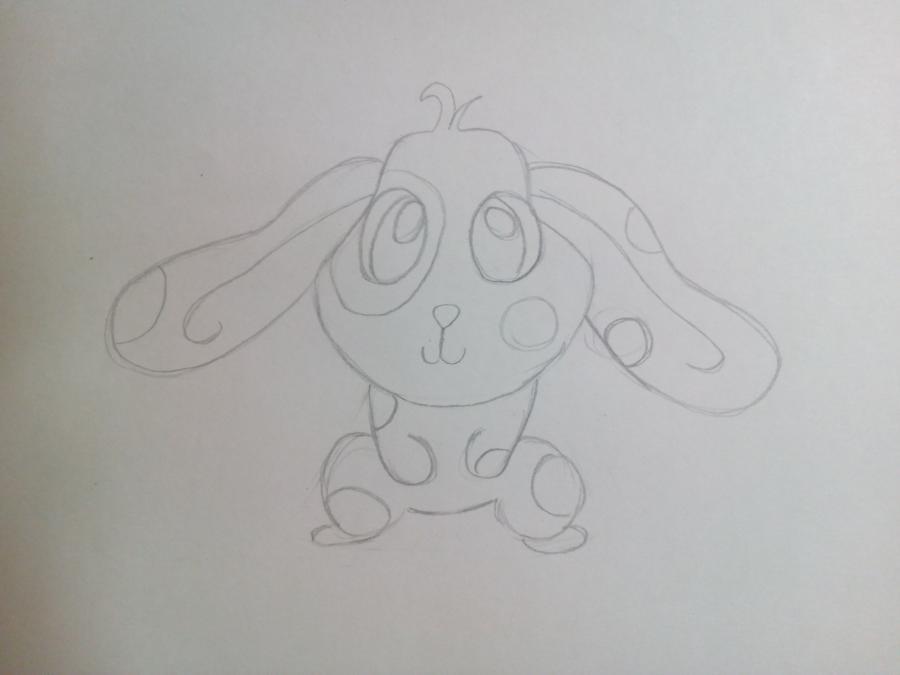 Рисуем зайчонка ребенку карандашами - шаг 6