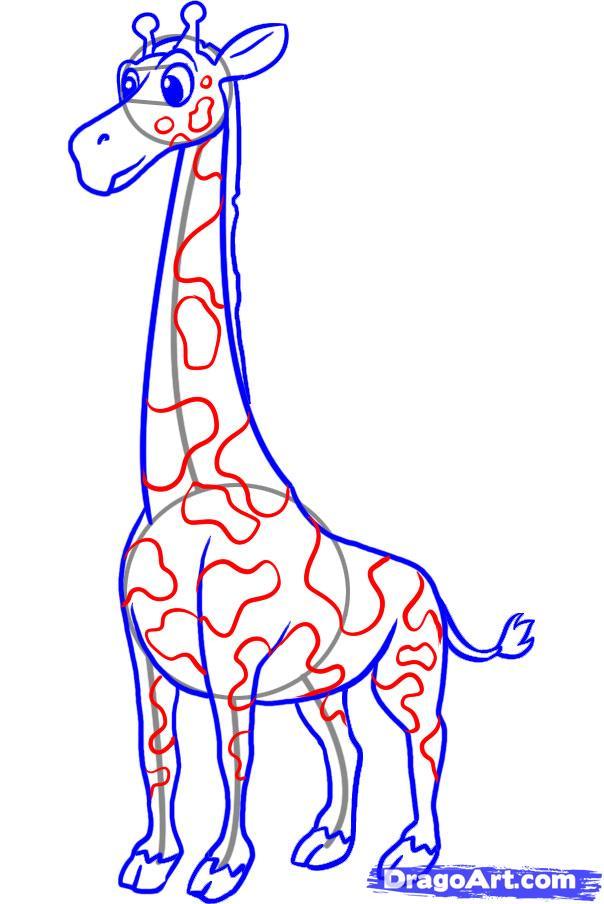 Рисуем жирафа ребенку - шаг 6
