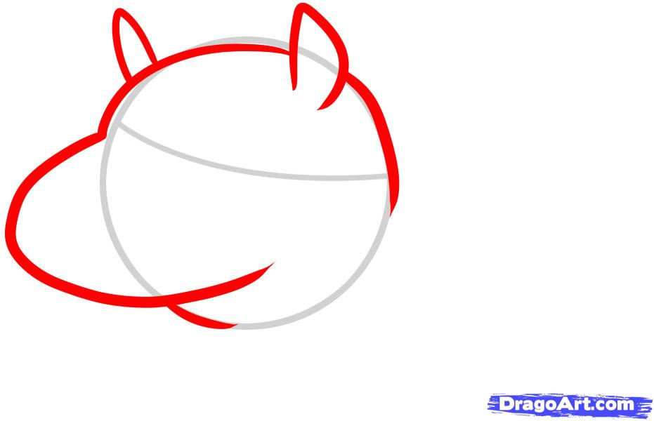 Как просто нарисовать Бегемотика ребенку - шаг 2