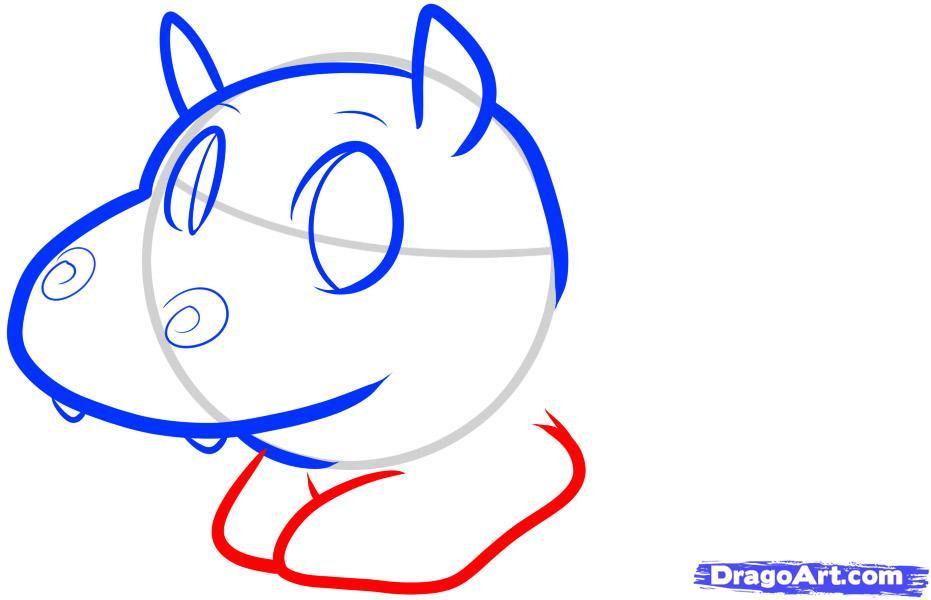 Как просто нарисовать Бегемотика ребенку - шаг 4