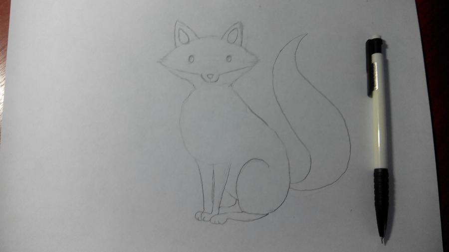 Рисуем и раскрашиваем лисичку в шарфике  детям (подробный урок) - шаг 11
