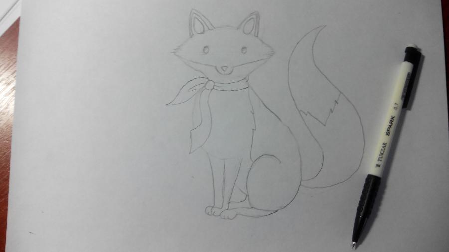 Рисуем и раскрашиваем лисичку в шарфике  детям (подробный урок) - шаг 12