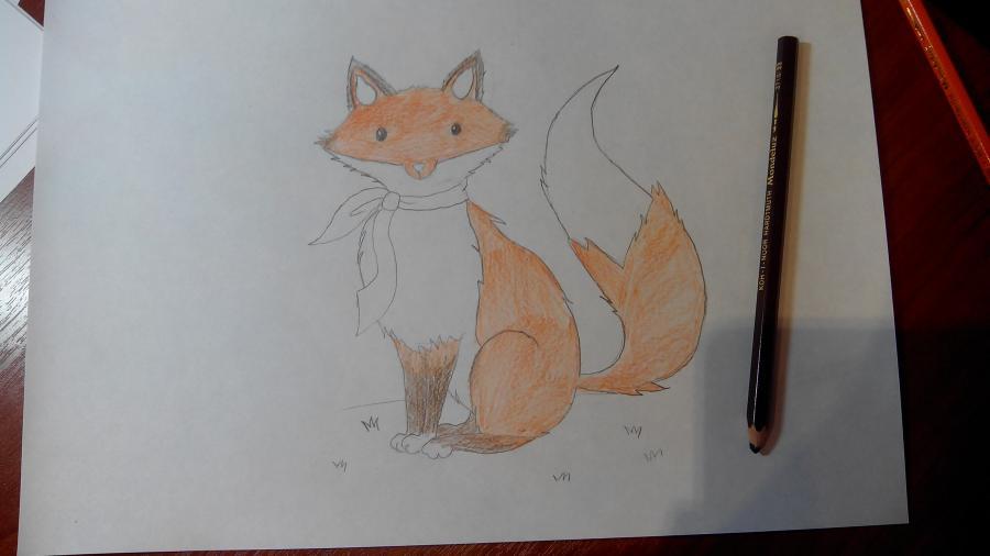 Рисуем и раскрашиваем лисичку в шарфике  детям (подробный урок) - шаг 15