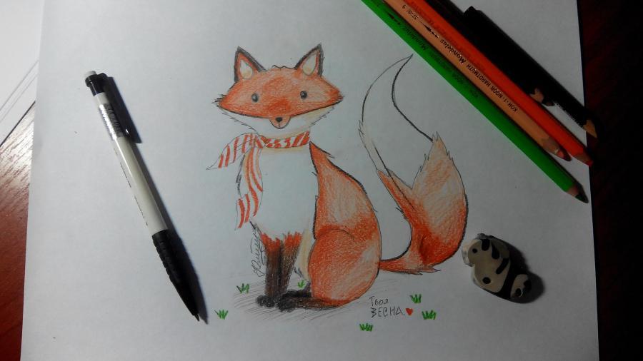 Рисуем и раскрашиваем лисичку в шарфике поэтапно детям (подробный урок)