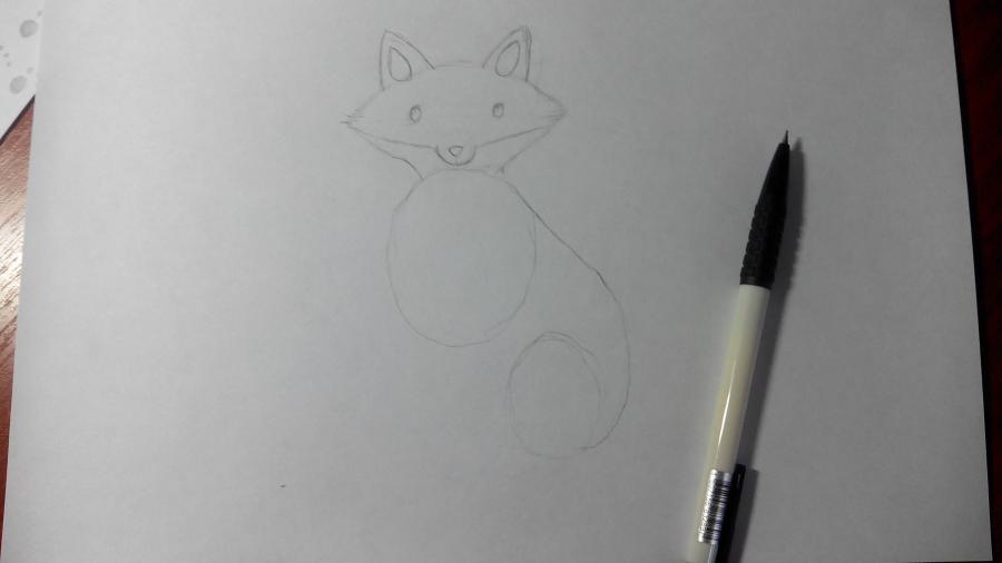 Рисуем и раскрашиваем лисичку в шарфике  детям (подробный урок) - шаг 8
