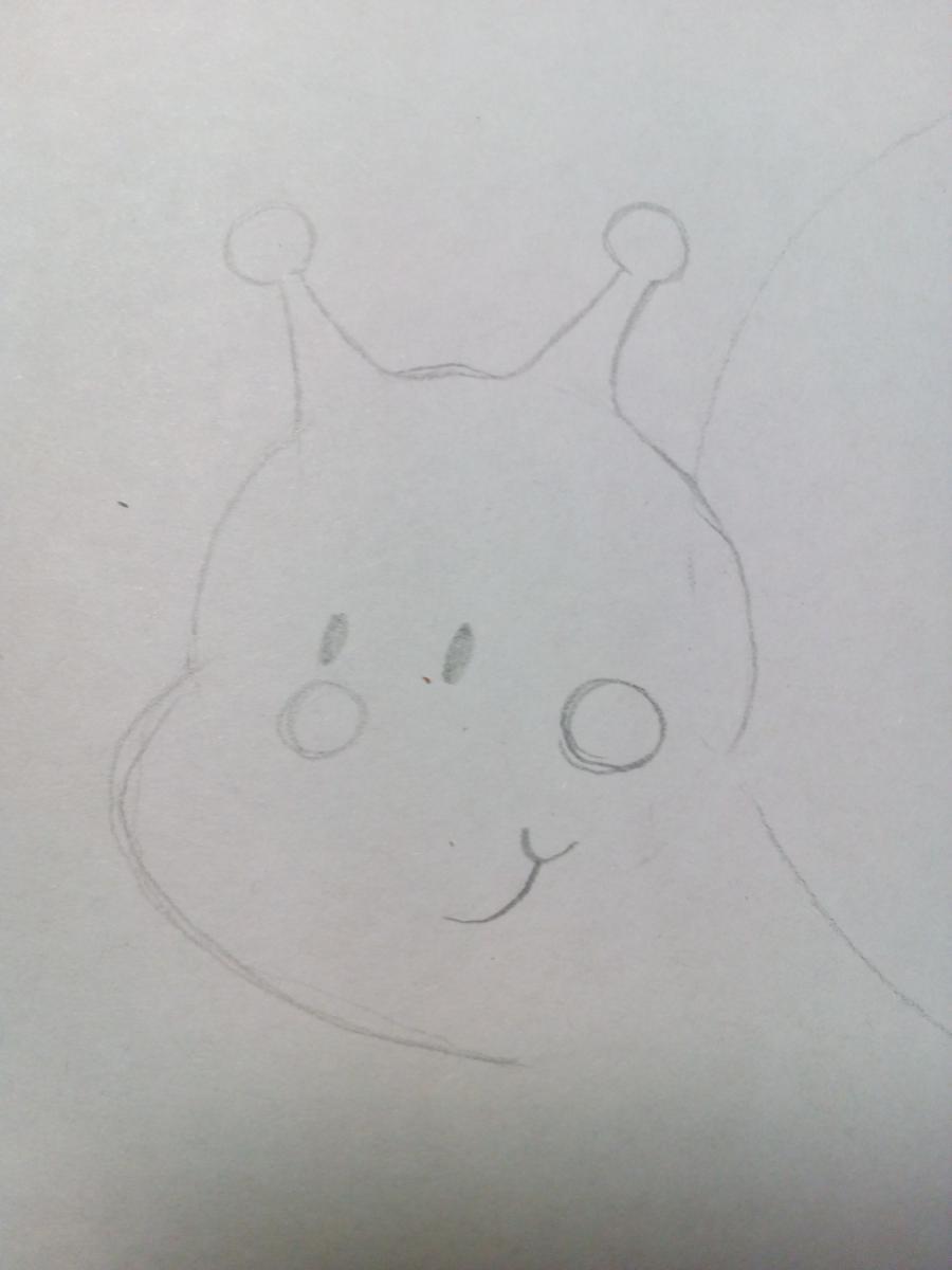 Рисуем забавную улитку детям - шаг 3