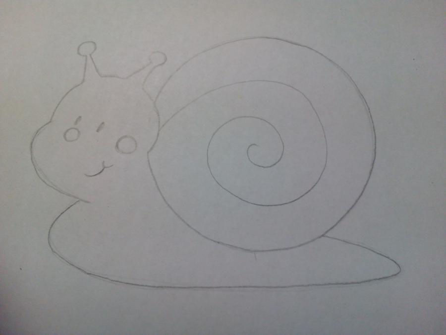 Рисуем забавную улитку детям - шаг 4