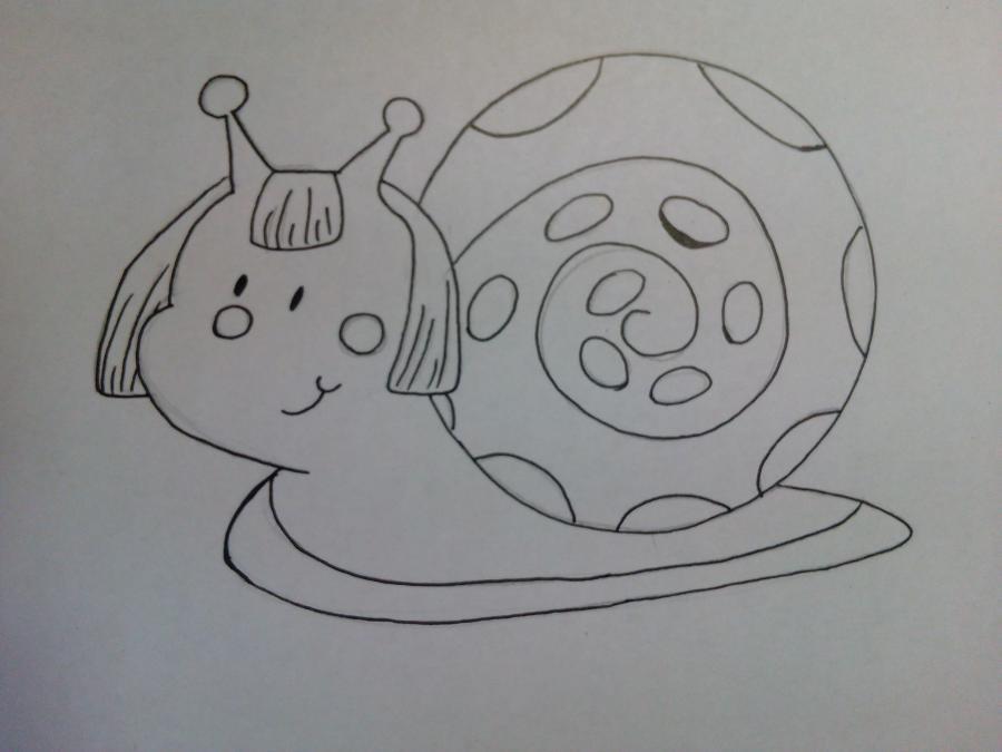 Рисуем забавную улитку детям - шаг 6