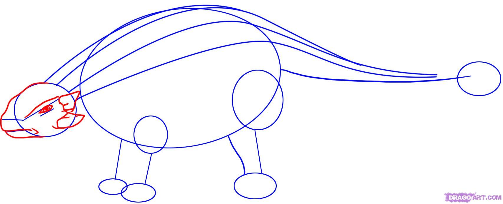 Как нарисовать анкилозавра поэтапно карандашом для начинающих
