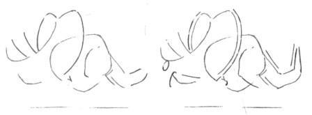 Рисуем маленького Трицератопса - шаг 2