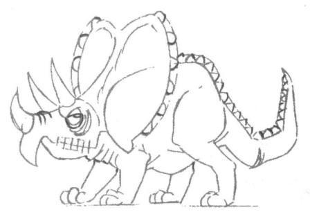 Рисуем маленького Трицератопса - шаг 4