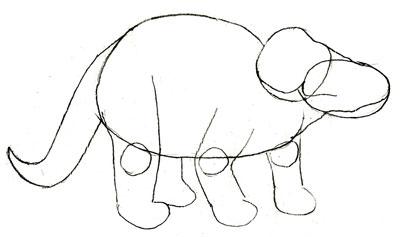 Рисуем Трицератопса - шаг 3
