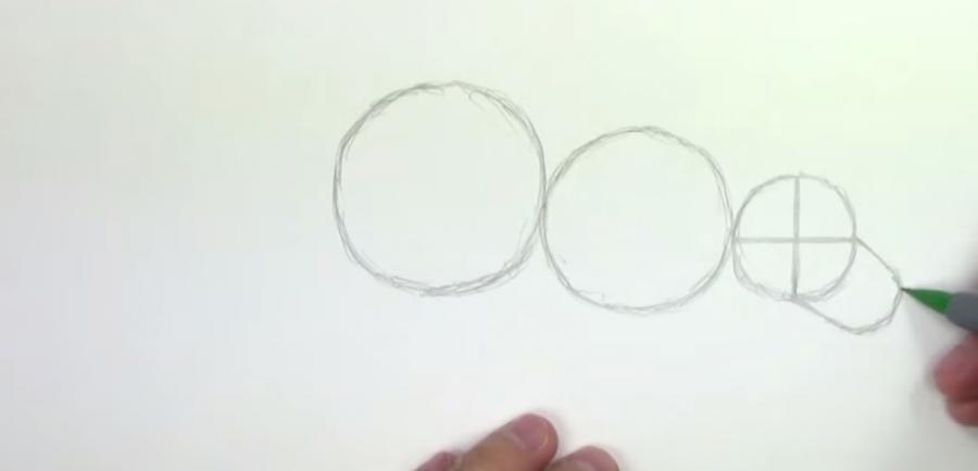 Как научиться рисовать трицератопса простым - шаг 1