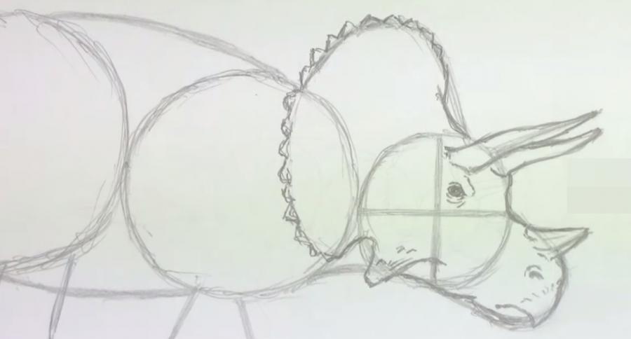 Как научиться рисовать трицератопса простым - шаг 3