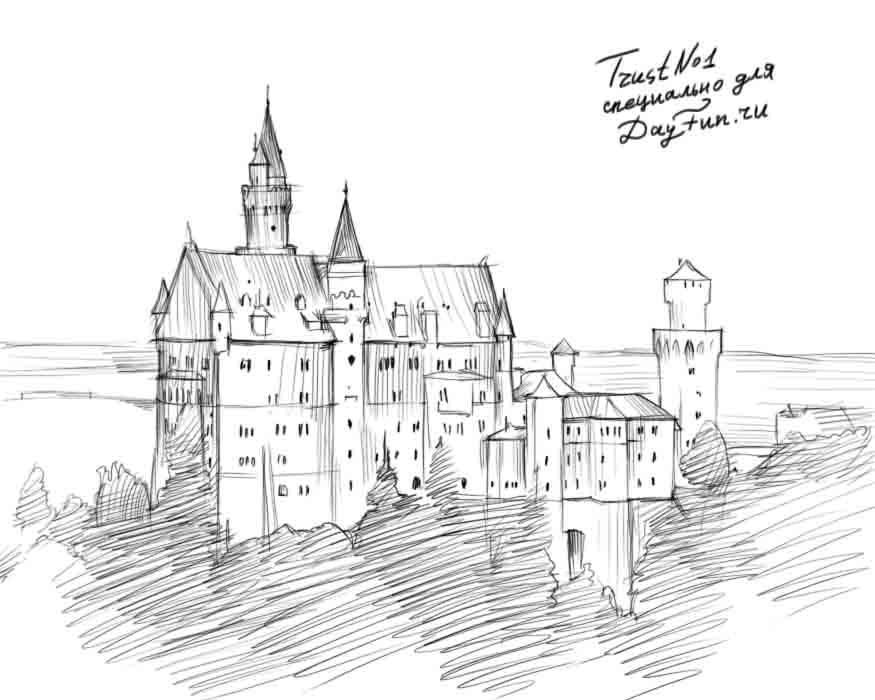Рисуем дворец Нойшванштайн на бумаге
