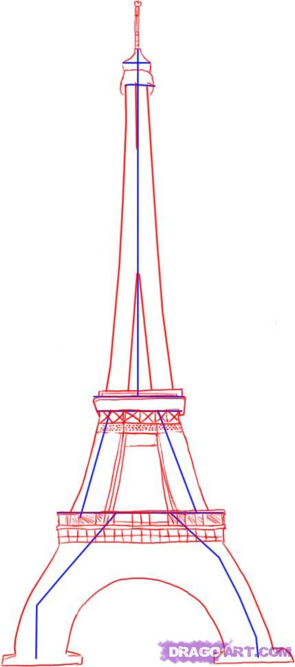 Рисуем Эйфелеву башню - шаг 2