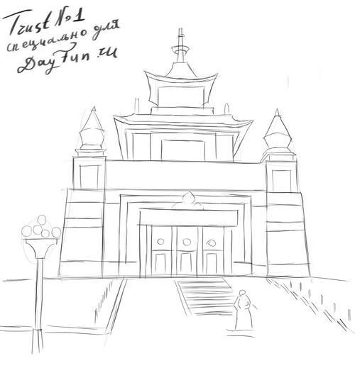 Как нарисовать храм Будды на