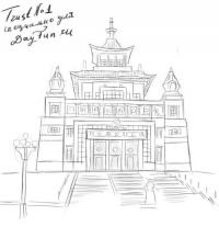храм Будды на бумаге карандашом