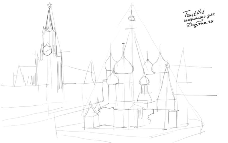 Как нарисовать Кремль карандашом на бумаге