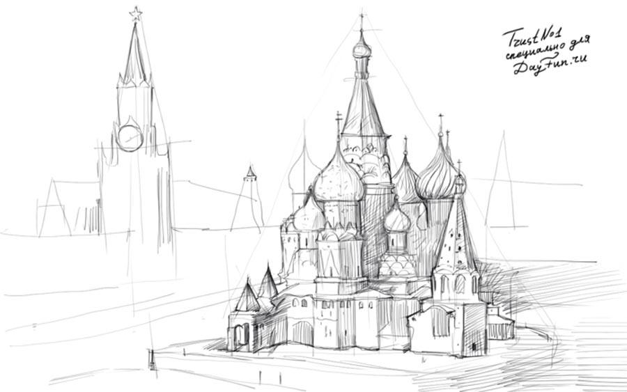 Рисуем Кремль  на бумаге