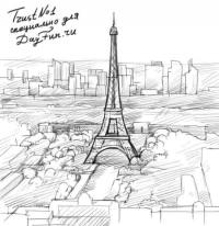 Париж и Эйфелеву башню на бумаге карандашом