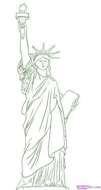 Статую Свободы на бумаге карандашом