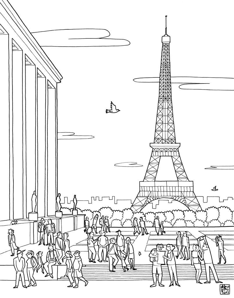 Рисунки Эйфелевой башни для срисовки - шаг 3