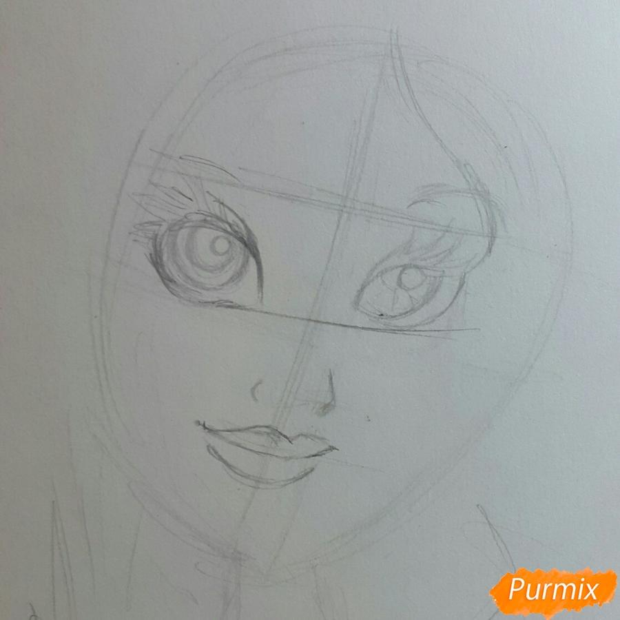 Рисуем Белоснежку простыми и цветными карандашами - шаг 1