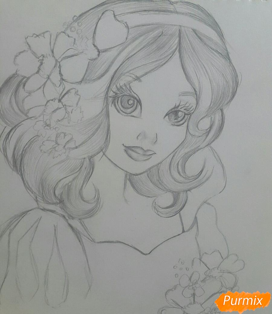 Рисуем Белоснежку простыми и цветными карандашами - шаг 4