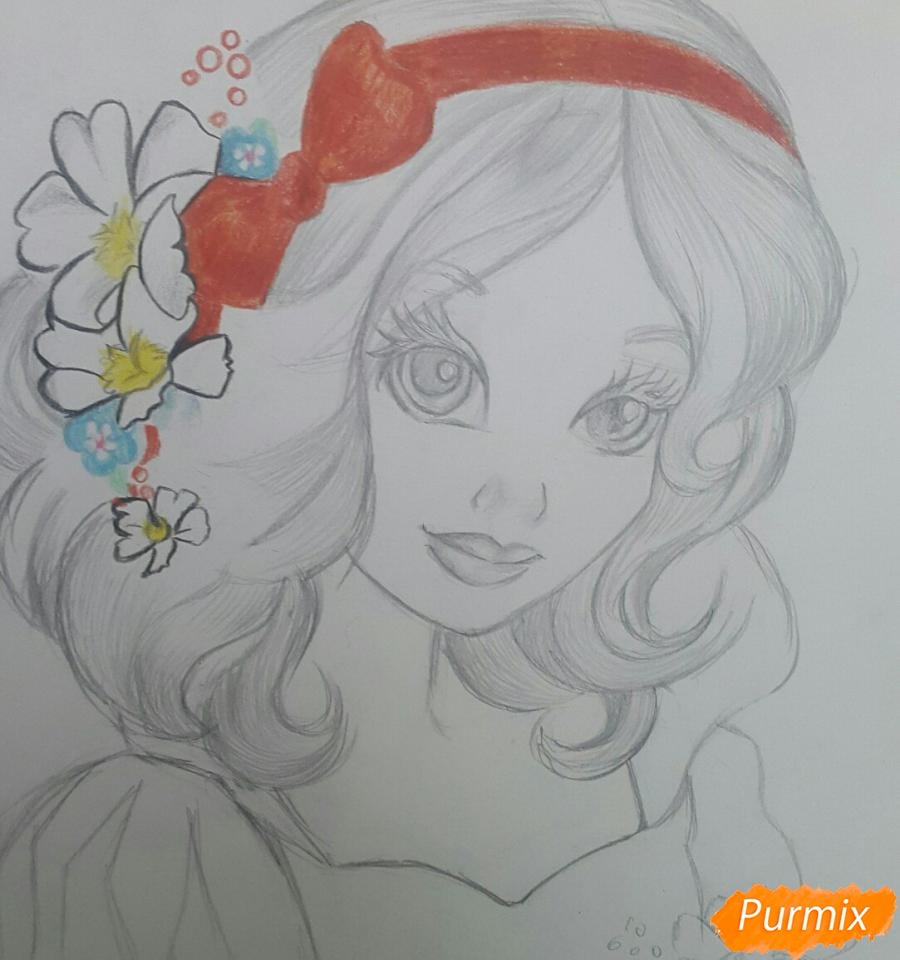 Рисуем Белоснежку простыми и цветными карандашами - шаг 5