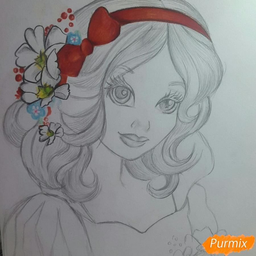Рисуем Белоснежку простыми и цветными карандашами - шаг 6