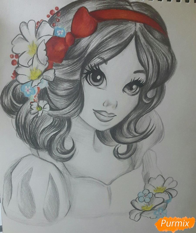 Рисуем Белоснежку простыми и цветными карандашами - шаг 7