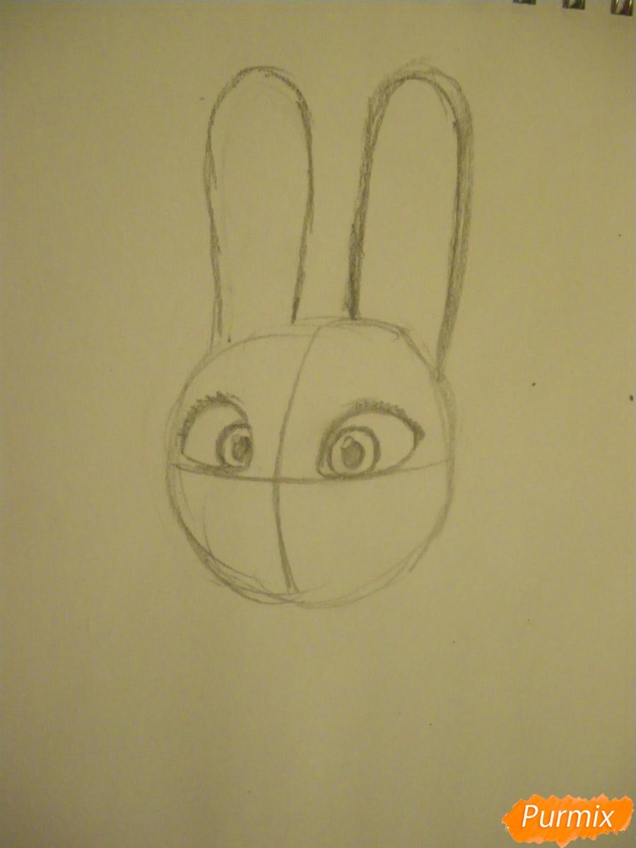 Рисуем и раскрасить Джуди Хопс  цветными карандашами - шаг 2