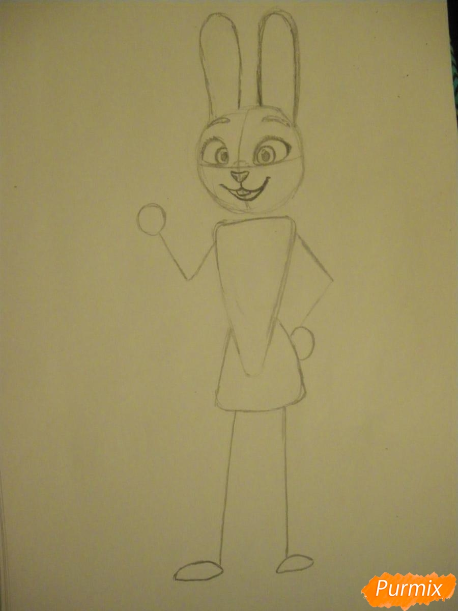 Рисуем и раскрасить Джуди Хопс  цветными карандашами - шаг 4