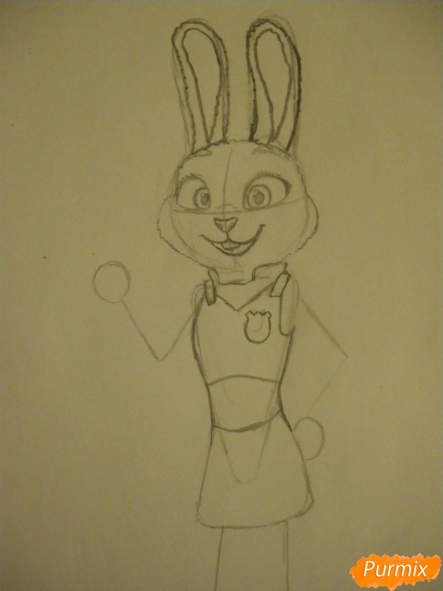 Рисуем и раскрасить Джуди Хопс  цветными карандашами - шаг 6