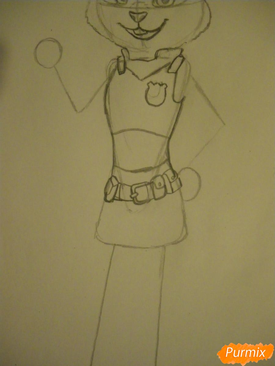Рисуем и раскрасить Джуди Хопс  цветными карандашами - шаг 7