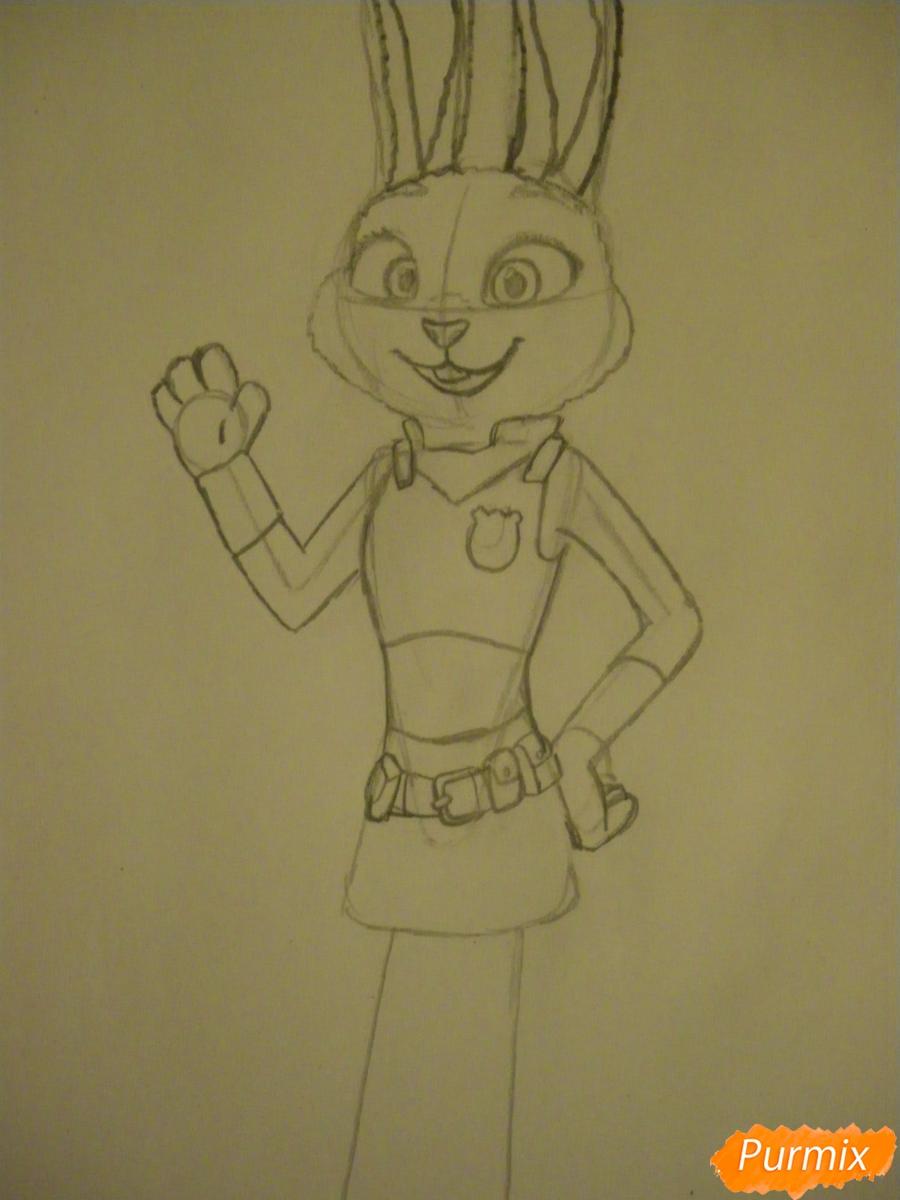 Рисуем и раскрасить Джуди Хопс  цветными карандашами - шаг 8