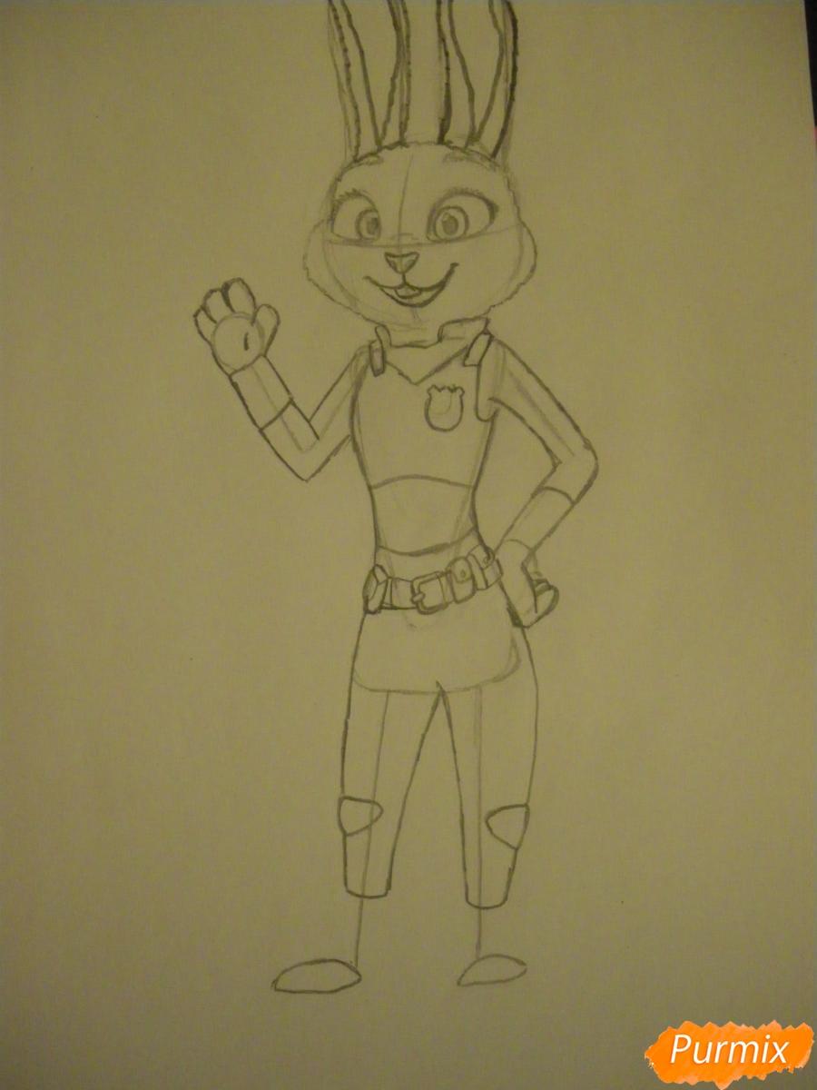 Рисуем и раскрасить Джуди Хопс  цветными карандашами - шаг 9