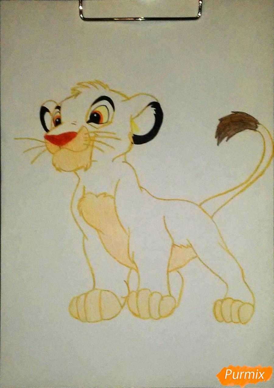 Рисуем и раскрасить Симбу - фото 7