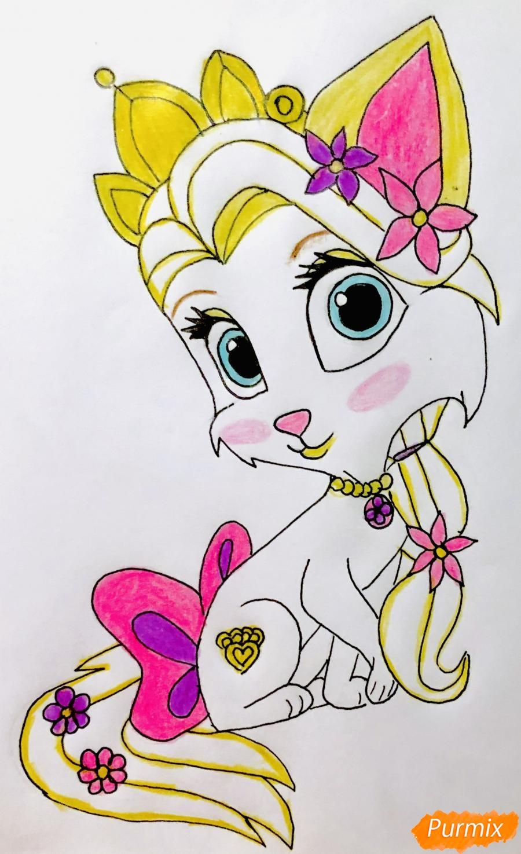 Рисуем кошечку Саммер питомца Рапунцель из мультфильма Palace Pets - фото 10
