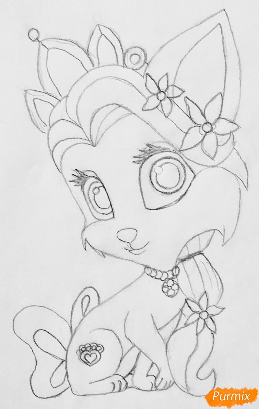 Рисуем кошечку Саммер питомца Рапунцель из мультфильма Palace Pets - фото 6