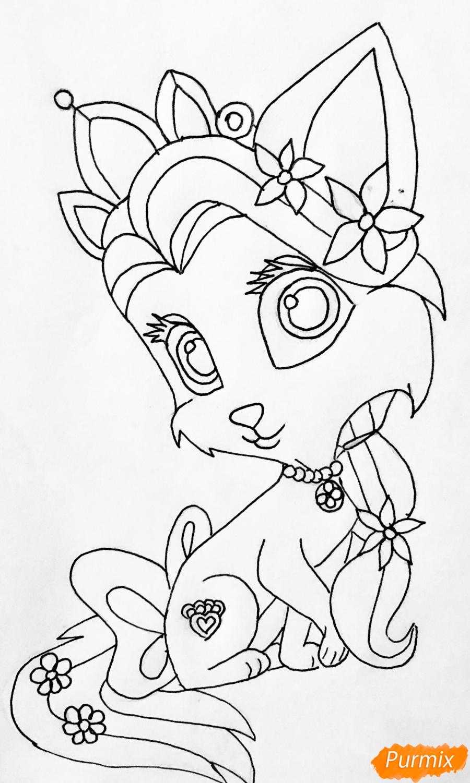 Рисуем кошечку Саммер питомца Рапунцель из мультфильма Palace Pets - фото 8