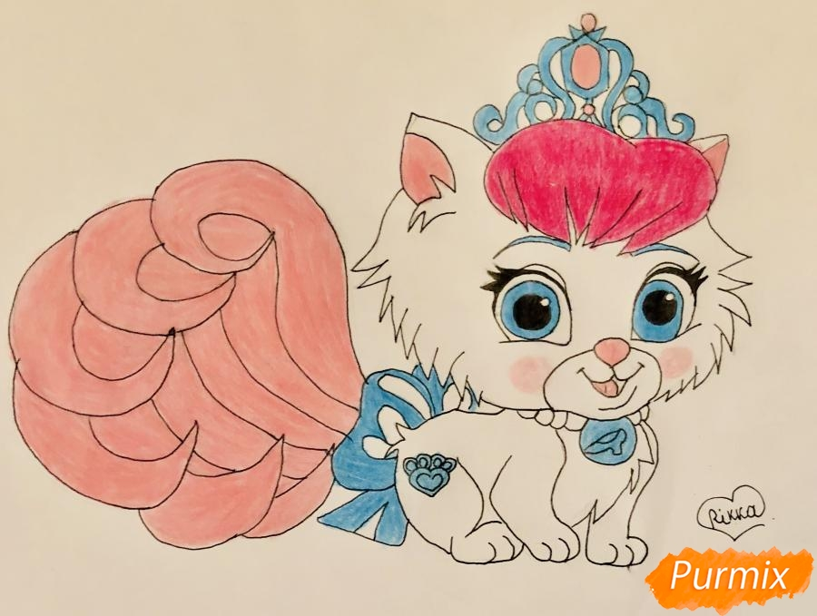 Рисуем кошечку Слиппер питомца Золушки из мультфильма Palace Pets - фото 8