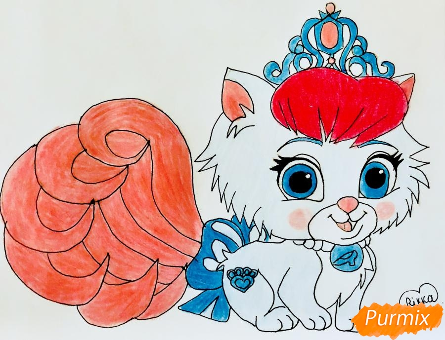 Как нарисовать кошечку Слиппер питомца Золушки из мультфильма Palace Pets поэтапно