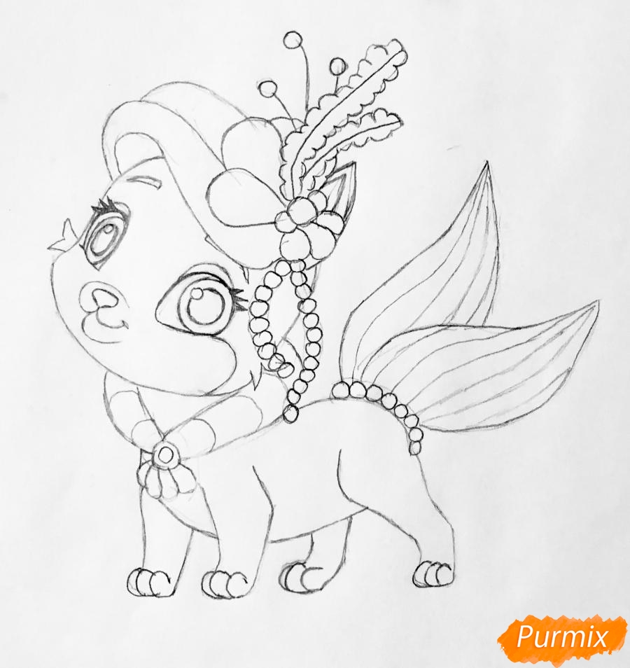 Рисуем кошечку по имени Сокровище питомца Ариэль из мультфильма Palace Pets - шаг 6