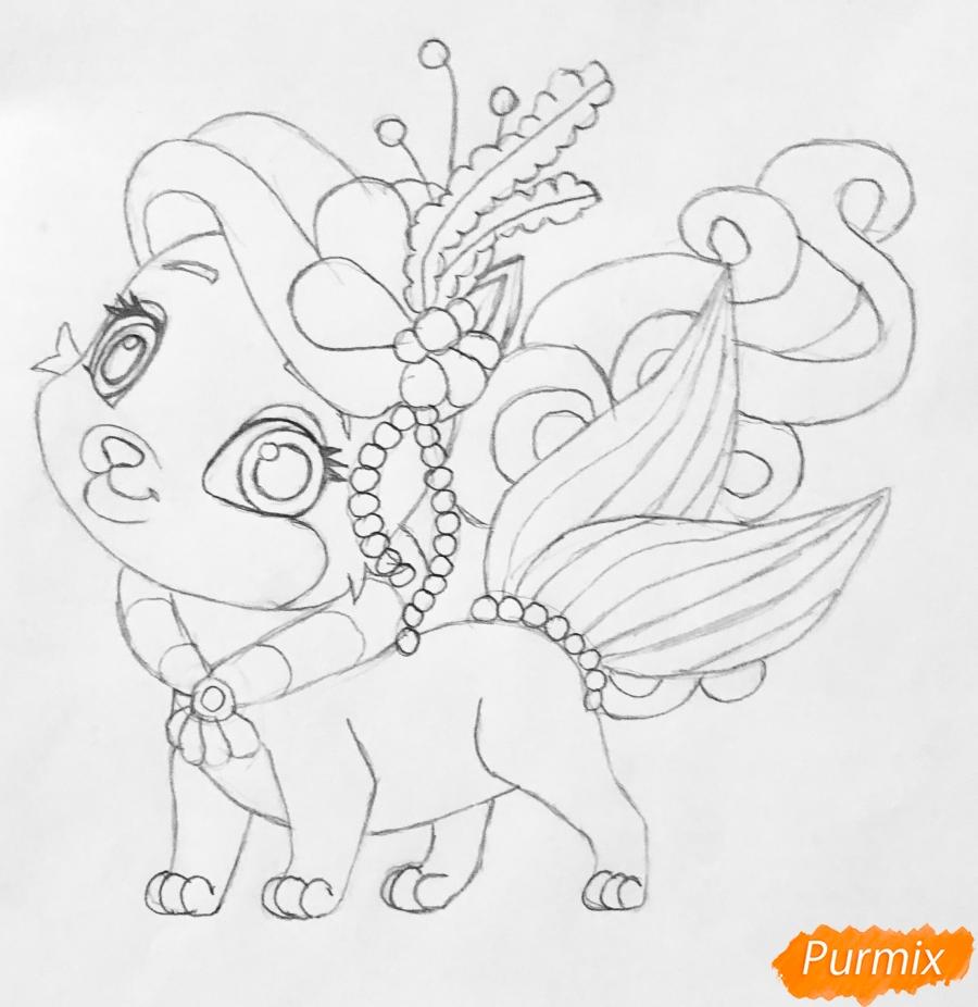 Рисуем кошечку по имени Сокровище питомца Ариэль из мультфильма Palace Pets - шаг 7
