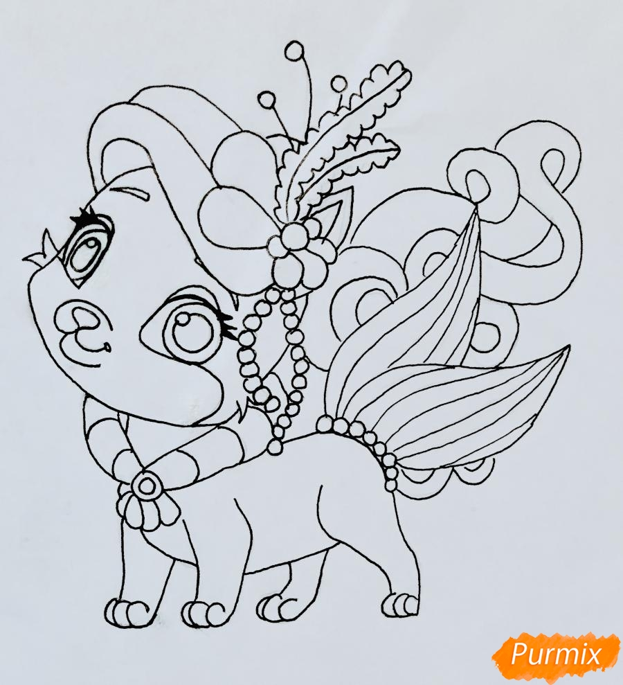 Рисуем кошечку по имени Сокровище питомца Ариэль из мультфильма Palace Pets - шаг 8